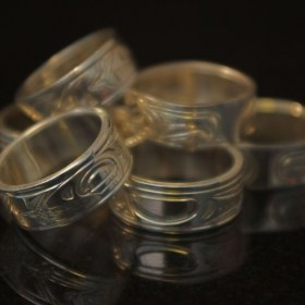 Hand Carved silver rings by Northwest Coast Native artists