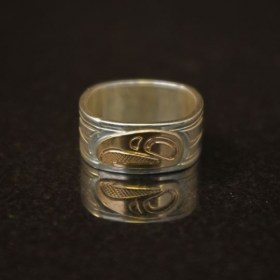 Silver ring with 14k gold Eagle by Native artist Justin Rivard