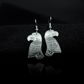 Silver cut-out Native Eagle earrings by William Cook