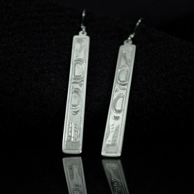 Silver Bar Earrings Native Wolf by Justin Rivard